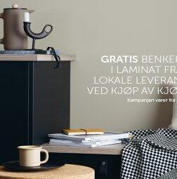 Åpnings kampanje: Gratis laminat benkplante ved kjøp av kjøkken